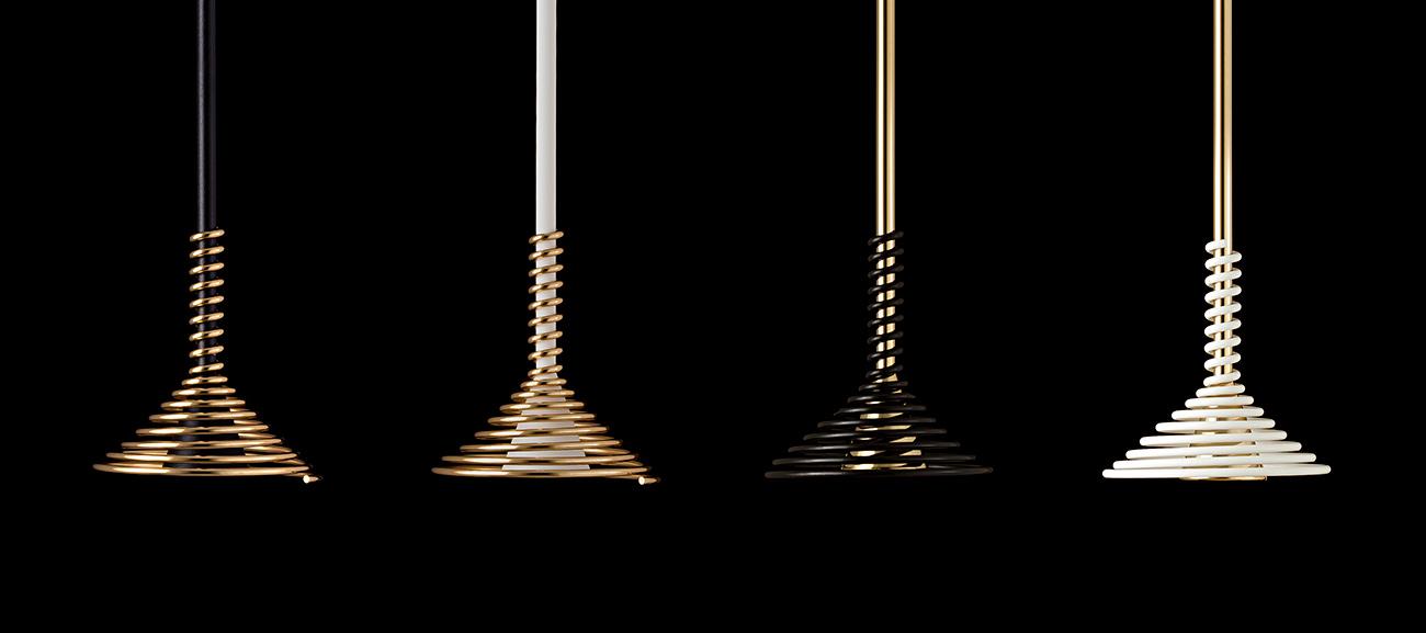 Lobelia by Sergi Ventura - Cuatro modelos de la lámpara Lobelia suspendidas en el techo